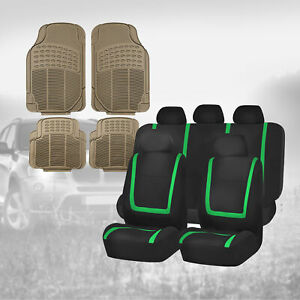 Black Green Car Seat Covers With Beige Floor Mats Combo For Auto Car Suv
