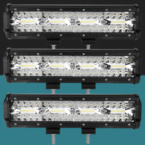 3x 12inch Led Light Bar Spot Flood Beam Offroad Fog Driving 4wd 4x4 For Ford Us