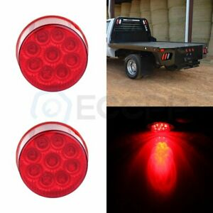 2x 2 Inch Round Side Marker Tail Light Red 9 Led Trailer Pickup Truck Signal