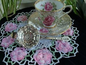 Sterling Silver Tea Strainer Wallace Rose Point Pattern