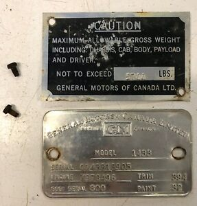 1950 Chevrolet Truck 1 Ton Body Tags Made In Canada
