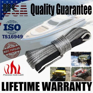 1 4 X 50 10000lb Synthetic Winch Rope Recovery Cable W Sheath Atv Utv Boat