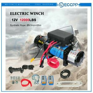 12v 12000lbs Electric Winch Synthetic Cable Truck Trailer Towing Off Road 4wd