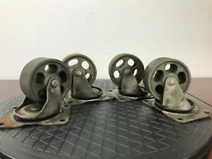 Vintage Industrial Salvage Cast Iron Metal Wheels Set Of 4 Bassick 361 Us