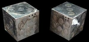 Rare Vintage Sterling Silver 950 Dice Salt And Pepper Shakers