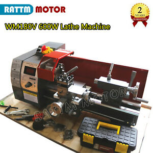 Wm180v Mini Lathe Machine Wood Metal Lathe Turning Thread W 600w Spindle Hole