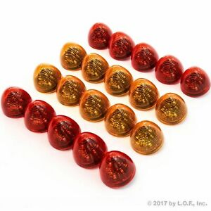 20 Red Led 2 Beehive Cone Lights Trailer 10 Red 10 Amber New Clearance Marker
