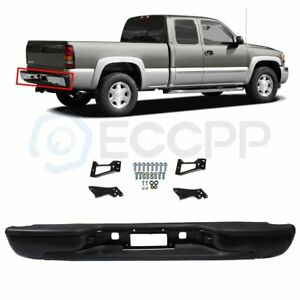 Rear Bumper For 1999 2006 2007 Gmc Sierra Chevrolet Silverado Black Steel New