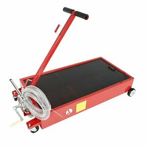 20 Gallon Oil Drain Pan Low Profile Dolly W Pump 8 Hose For Wheels Car Truck