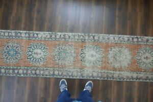 Vintage Turkish Oushak Runner Rug Handwoven Wool Antique Rug Runner 2 5x10 8 Ft