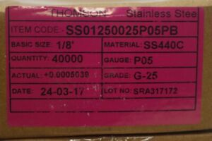 Pack Of 1 Thomson Precision Ball Steel 1 8 In Dia Pk100 Hc01250025