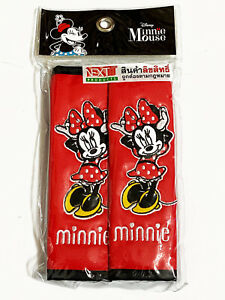 Minnie Mouse Disney Faux Leather Car Seat Belt Shoulder Pads Covers Pair Red