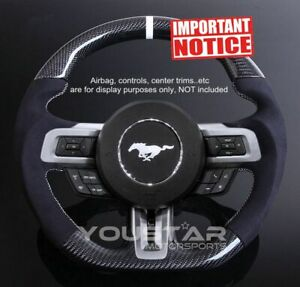 D type Carbon Alcantara Suede White Stripe Steering Wheel For Ford Mustang15 17