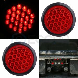 2x 4 Inch Round Stop Turn Tail Brake Truck Trailer Red Led Lights Sealed