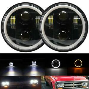 Pair 5 75 5 3 4 Led Headlights Drl Halo Angel Eyes Lamp For Chevrolet Impala