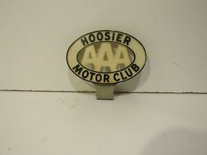 Vintage Aaa Hoosier Motor Club Emblem Badge Nameplate License Plate Topper