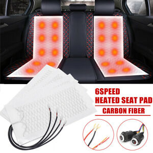 Two Seat Car Seat Carbon Fiber Heated Cushion Seat Heater Pad Hi off lo Switch