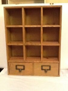 Rustic Wood Desktop Organizer With Drawers And Cunny Shelves Card Catalogue Styl