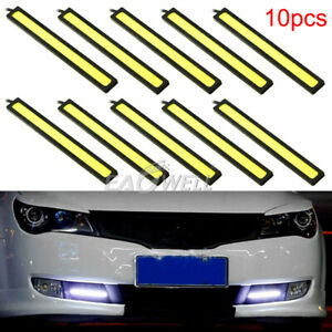 Us 10pcs 12v Led Strip Drl Daytime Running Light Fog Cob Car Lamp Driving White