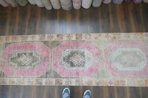 Vintage Turkish Oushak Runner Rug Handwoven Wool Antique Rug Runner 3 X9 7 Ft