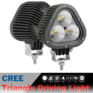 2x 4inch 120w Round Triangle Cree Led Driving Spot Light Combo Beam Off Road Atv