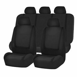 Full Car Seat Covers Set Solid Black For Auto Truck Suv 8 Pc