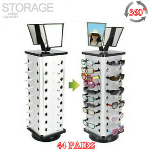 Metal Rotating Sunglass Display Rack Glasses Stand Holder W Mirror For 44 Pairs