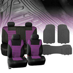 Universal Car Seat Cover For Auto Purple Black W Gray All Weather Floor Mats