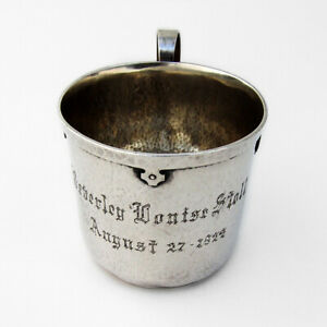 Arts And Crafts Baby Christening Cup Sterling Silver 1920s Mono