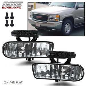 Clear Fog Lights Bumper Lamps W bulbs For Gmc 99 02 Sierra 01 06 Yukon