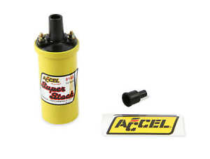 Accel 8140 Ignition Coil Yellow 42000v 1 4 Ohm Primary Points Good Up