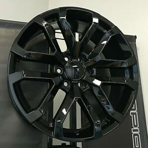 22 Denali Black Wheels A T Tires Rims Fits Lifted Chevy Tahoe Silverado Suburban