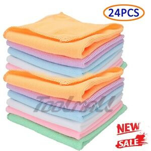 24pc Pack Microfiber Cleaning Cloth Towel No Scratch Rag Car Polishing Detailing