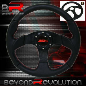 Jdm Sport 320mm Steering Wheel Black W Red Stitching 6 Bolt Horn Button