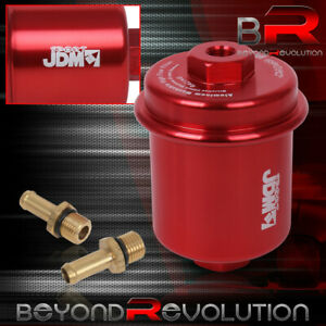 Universal Rebuildable Aluminum Anodized Case Racing Fuel Filter Jdm Red