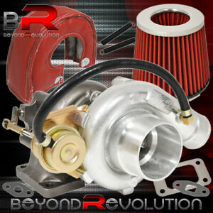 T3 T4 Turbo Flange Inlet V band High Flow Air Filter Heat Shield Red Chrome