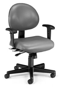 Anti bacterial Charcoal Vinyl Medical Office Task Chair With Adjustable Arms