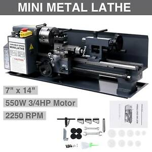 550w 7 X 14 mini Metal Lathe Machine Variable Speed 2250 Rpm High Precision