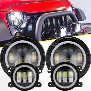 For Jeep Wrangler Jk 07 17 Halo Led Headlight Led Drl Fog Light Lamp Combo Kit