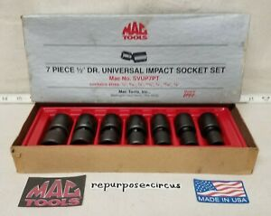 Mac Tools Usa Svup7pt 1 2 Drive Universal Impact 7 Piece Swivel Socket Set Sae