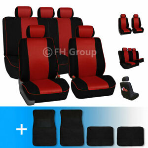 Stylish Edgy Piping Full Set Fabric Seat Covers W Black Carpet Mats