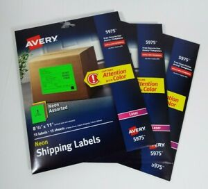 Lot Of 3 Avery Neon Shipping Label Full Size 8 5 X11 15 Labels sheets Laser