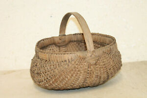 Antique Vintage Primitive Woven Handled Egg Gathering Basket 11 X11 X9
