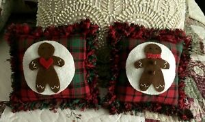 Two Handcrafted Ragged Edge Gingerbread Man Pillow Tuck S Ornie S