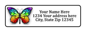 400 Colorful Butterfly Personalized Return Address Labels 1 2 Inch By 1 3 4 Inch