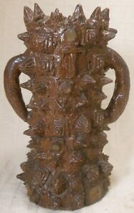 Wonderful Antique American Sewer Tile Spikey Vase With Impressed Letter T
