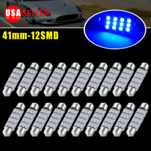 20x Ultra Blue 41mm 12 smd Led Festoon Interior Trunk Light Bulbs 569 578 6413