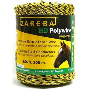 Zareba Pw656y9 z 200 meter 9 conductor Portable Electric fence Polywire 1 Pack