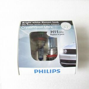 Philips H11 Cvs2 Crystal Vision Ultra Bright White Xenon Look Pack Of 2 Bulbs