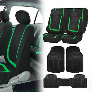 Black Green Seat Covers For Car Suv Auto With Black Heavy Duty Floor Mats